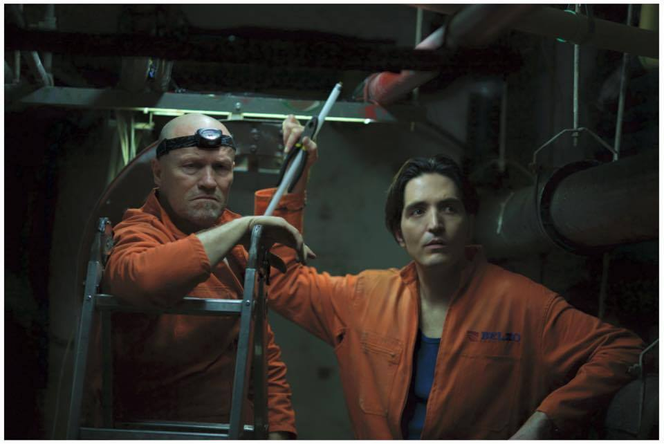 Michael Rooker and David Dastmalchian in The Belko Experiment